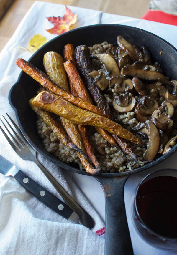 Savoury Buckwheat with Roasted Heirloom Carrots and Miso Mushroom Gravy