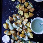 Garlicky Roasted Potatoes with Green Goddess Tahini