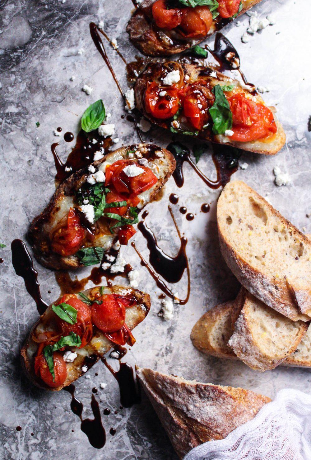 Blistered Tomato Crostini with Gorgonzola an Balsamic Glaze