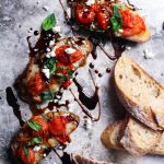 Blistered Tomato Crostini with Gorgonzola and Balsamic Glaze