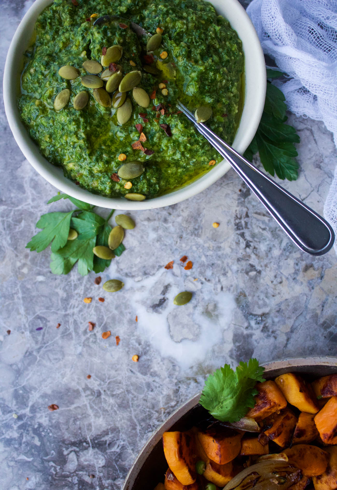 Spicy Sweet Potato Hash with Caramelized Shallots + Pepita Chimichurri