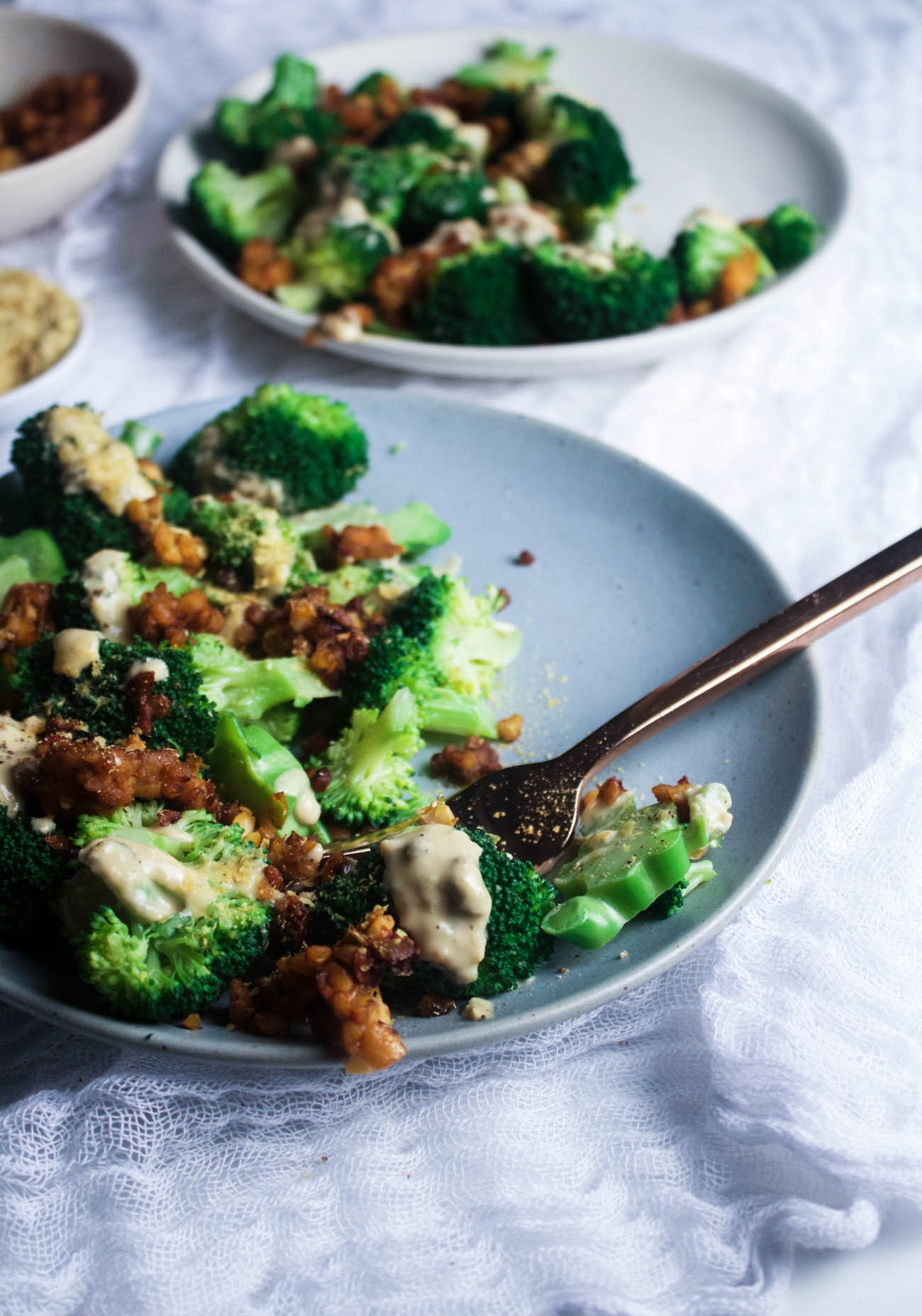 Broccoli Caesar with Smoky Tempeh Bits From The First Mess Cookbook