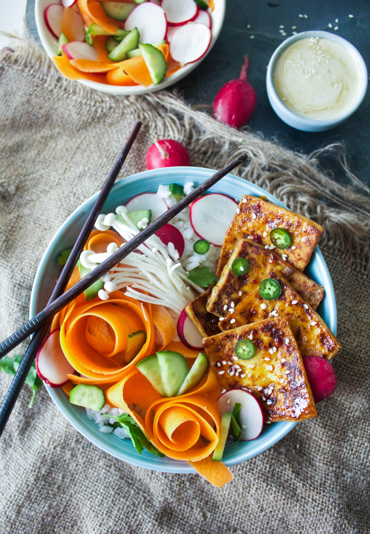 Sticky Soy Bahn Mi Bowls with Quick Pickles + Sesame Tahini Sauce