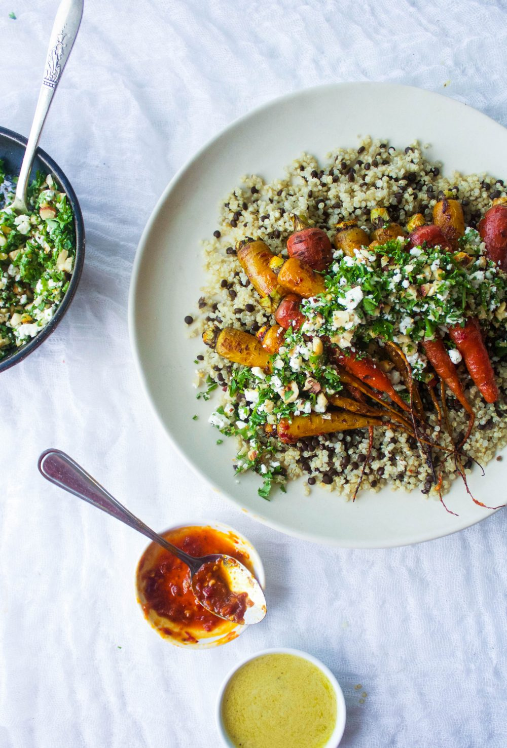 Harissa Roasted Carrots w/ Herbed Feta Crumble