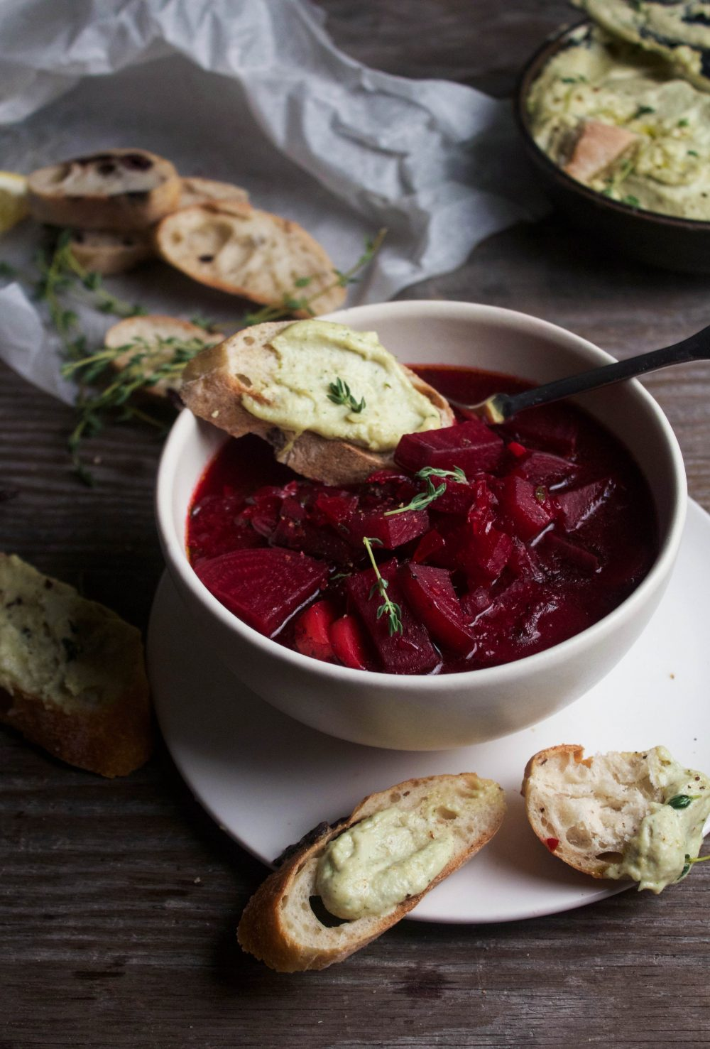 Humble Beet Soup w/ Herbed Cashew Cheese Toasties | EARTH & OVEN