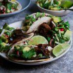 Smoked Mushroom and Serano Tacos w- Avocado Radish Salsa