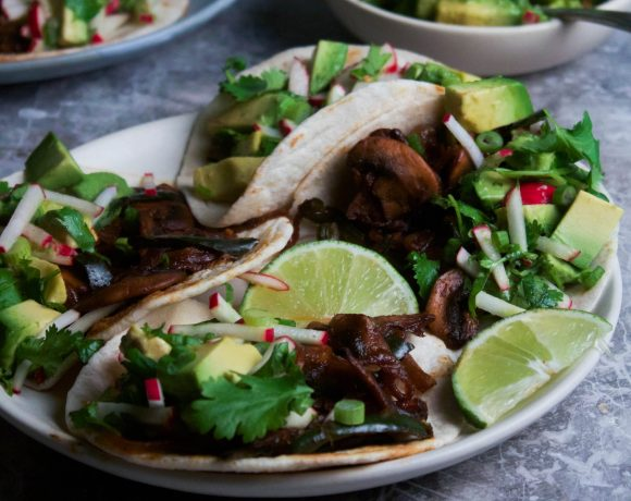 Smoked Mushroom and Serrano Tacos w/ Avocado Radish Salsa