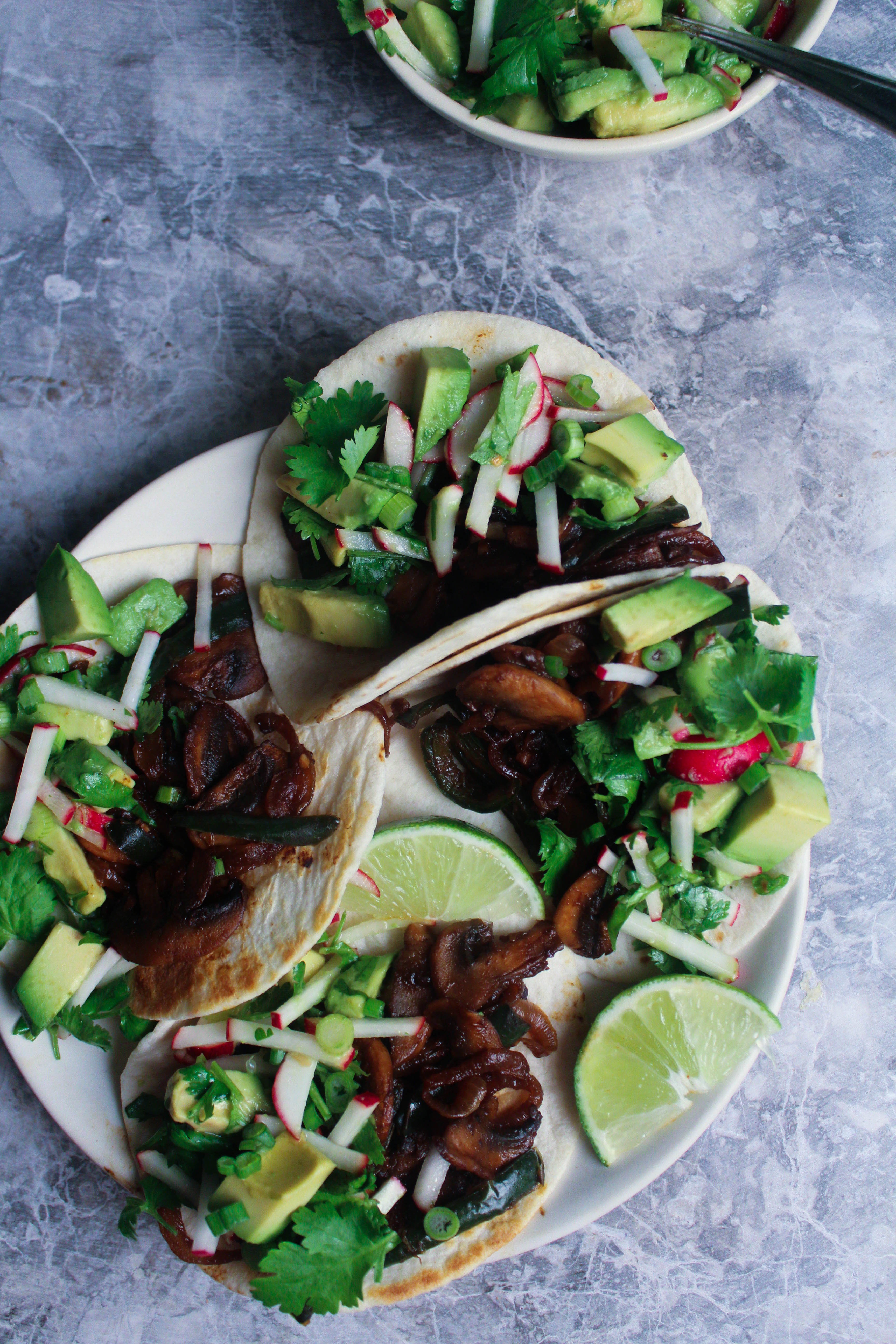 Smoked Mushroom and Serano Tacos w/ Avocado Radish Salsa
