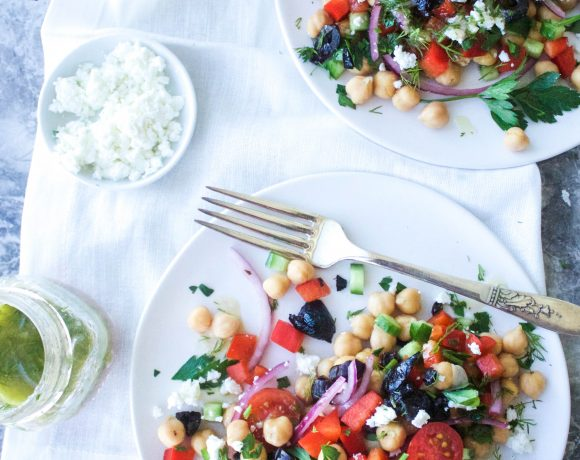 Greek Chickpea Salad with Lemony Dill Dressing