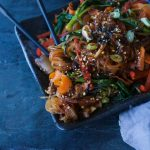 Spicy Vegan Japchae {Korean Stir Fried Noodles}