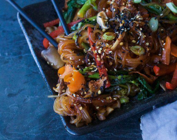 Spicy Vegan Japchae {Korean Stir Fried Noodles}