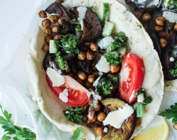 Aubergine + Chickpea Sabich (Middle Eastern Stuffed Pitas)