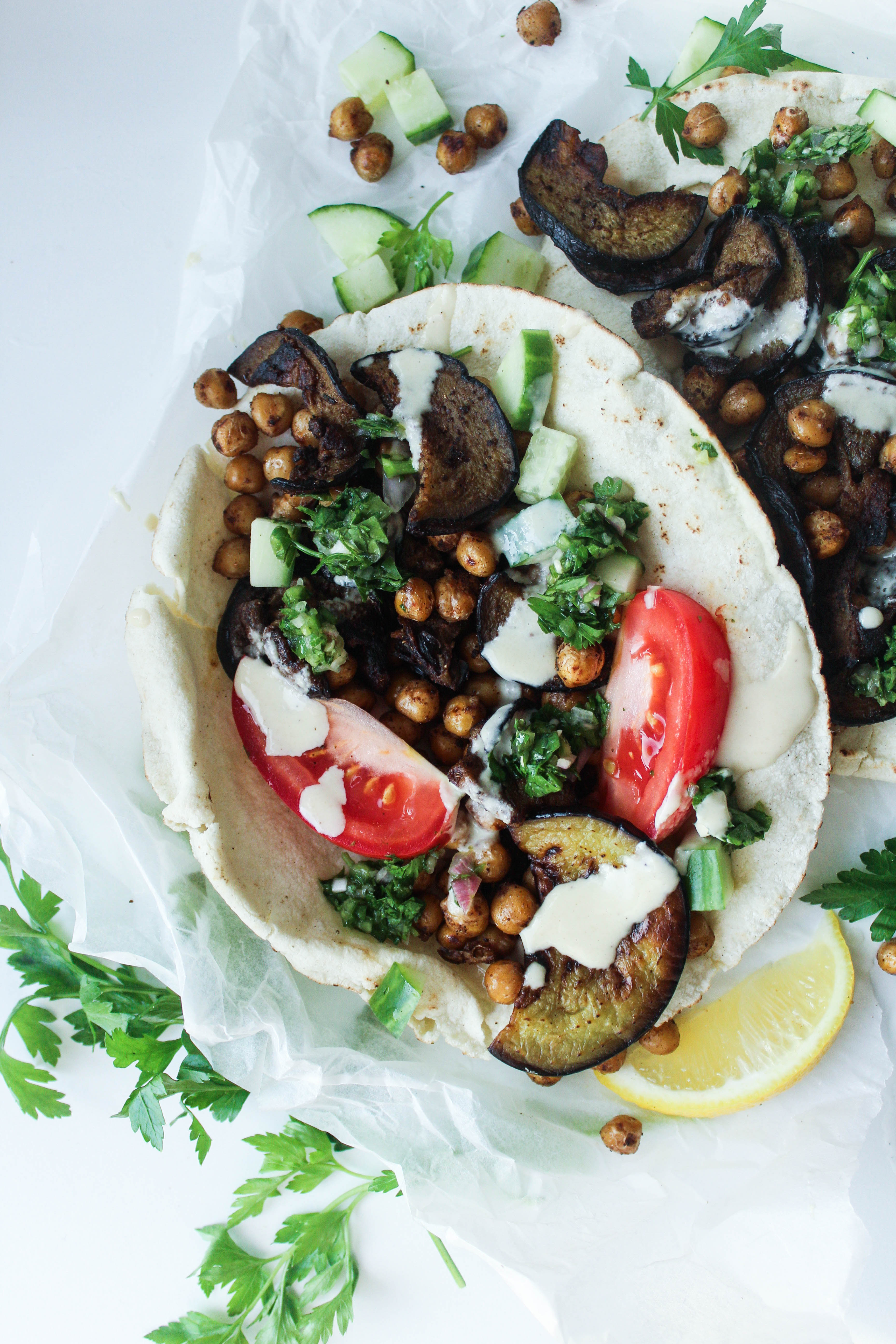Aubergine + Chickpea Sabich (Stuffed Middle Eastern Pitas)