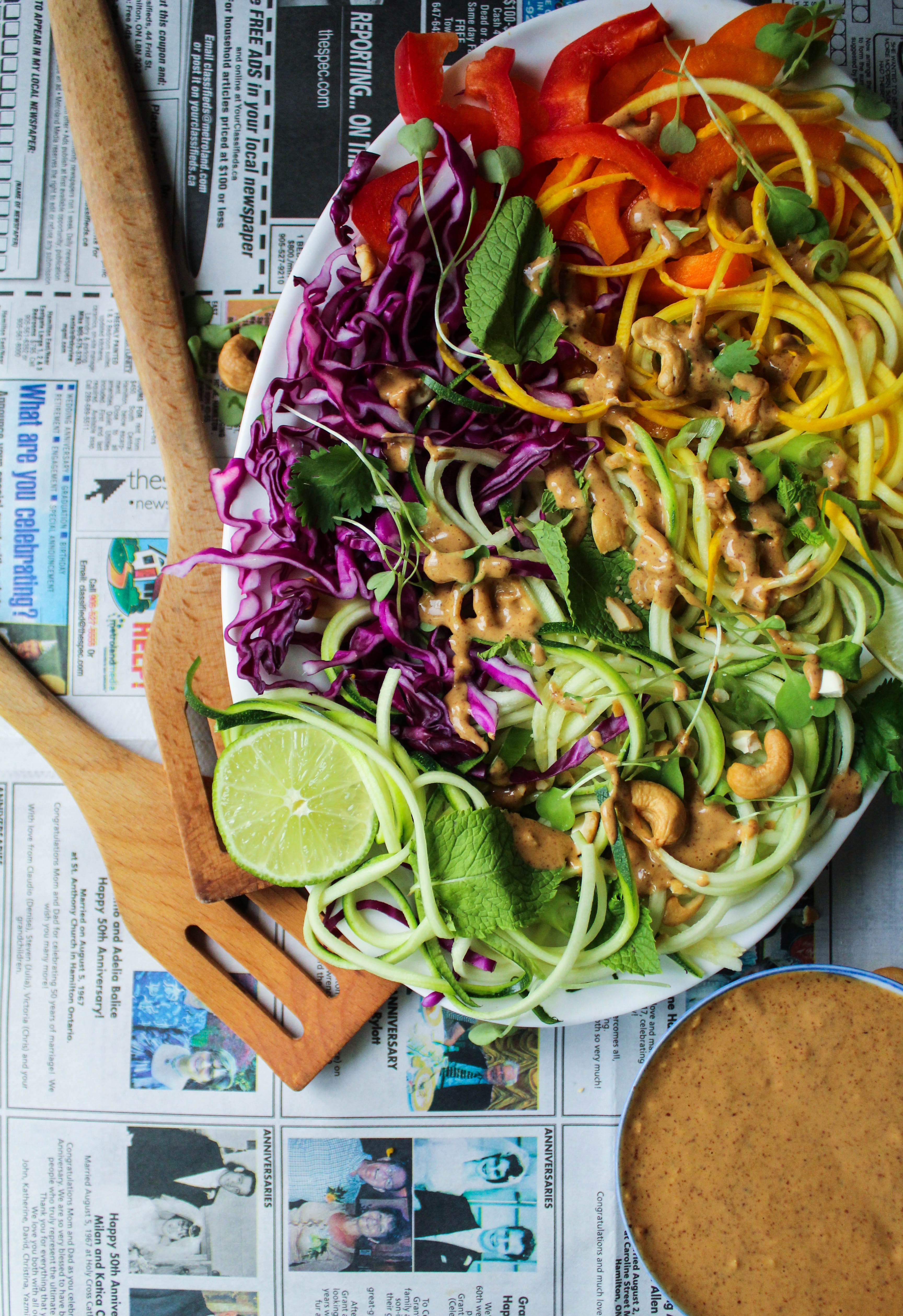 Tangled Thai Salad w/ Ginger Almond Sauce