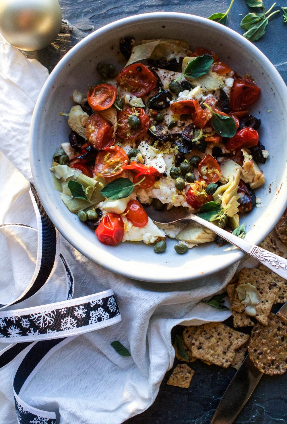 Baked Feta Meze w/ Charred Tomatoes and Capers | Earth & Oven