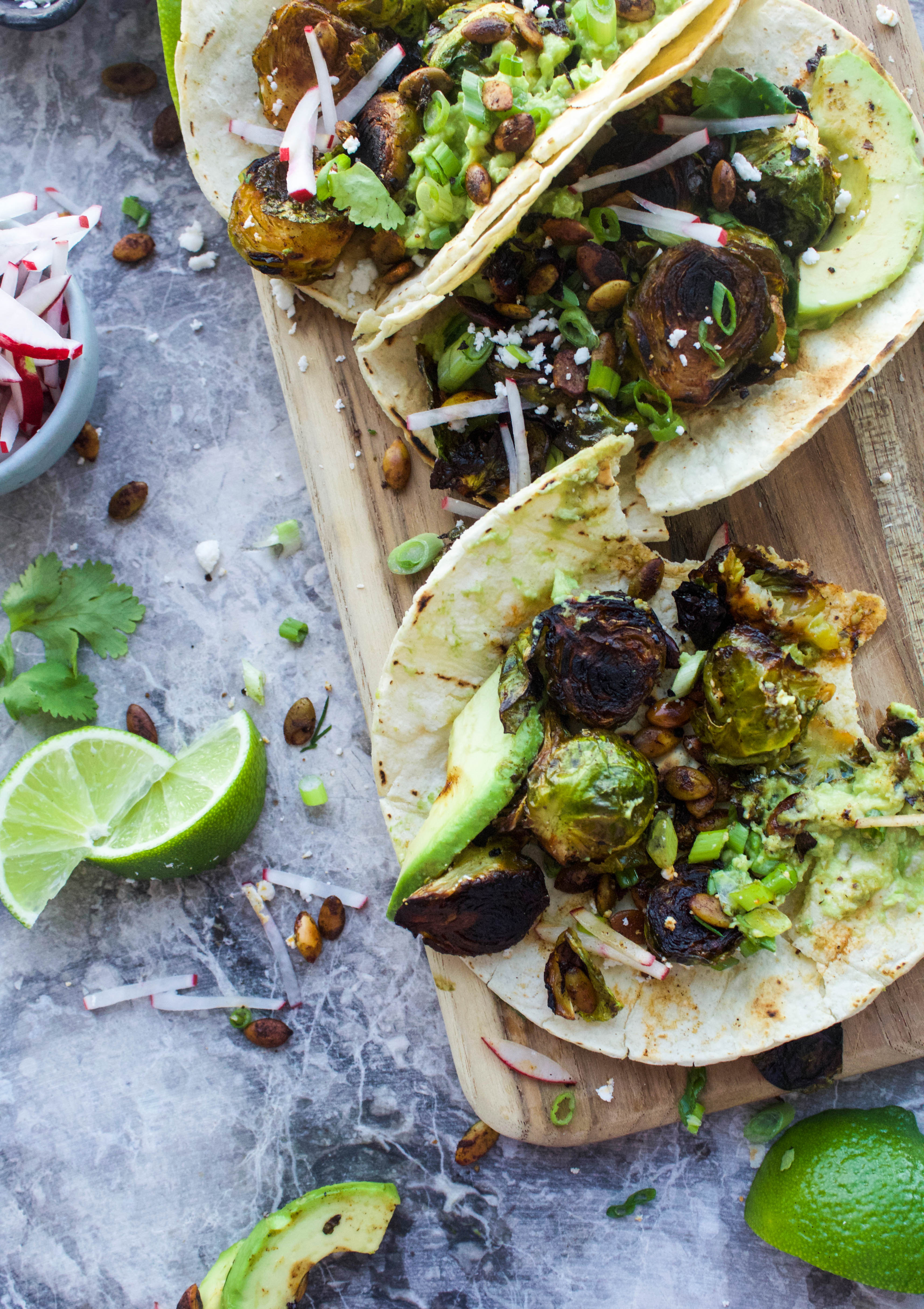 Blackened Brussels Sprout Tacos | Earth & Oven
