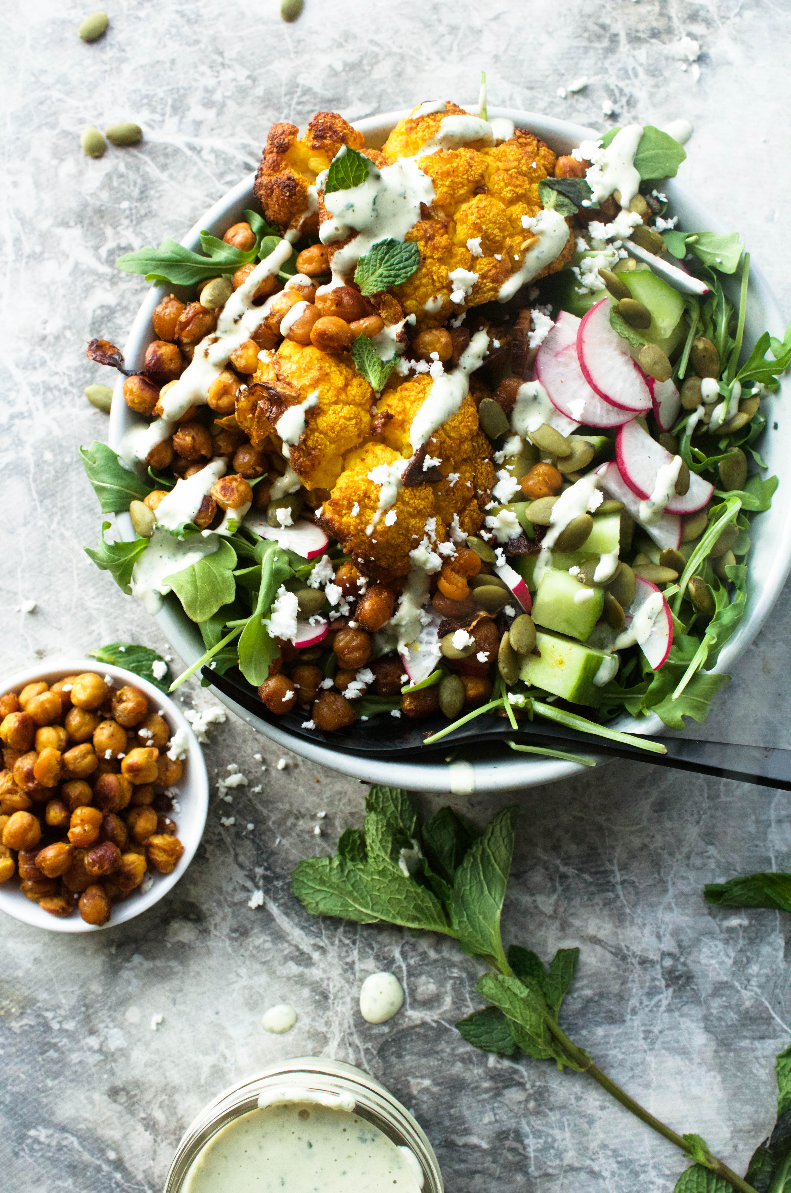Spicy Roasted Cauliflower and Chickpeas | Earth & Oven