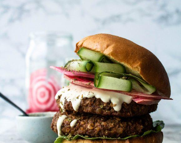 Za'atar Lentil Burgers w/ Pickles + Tahini