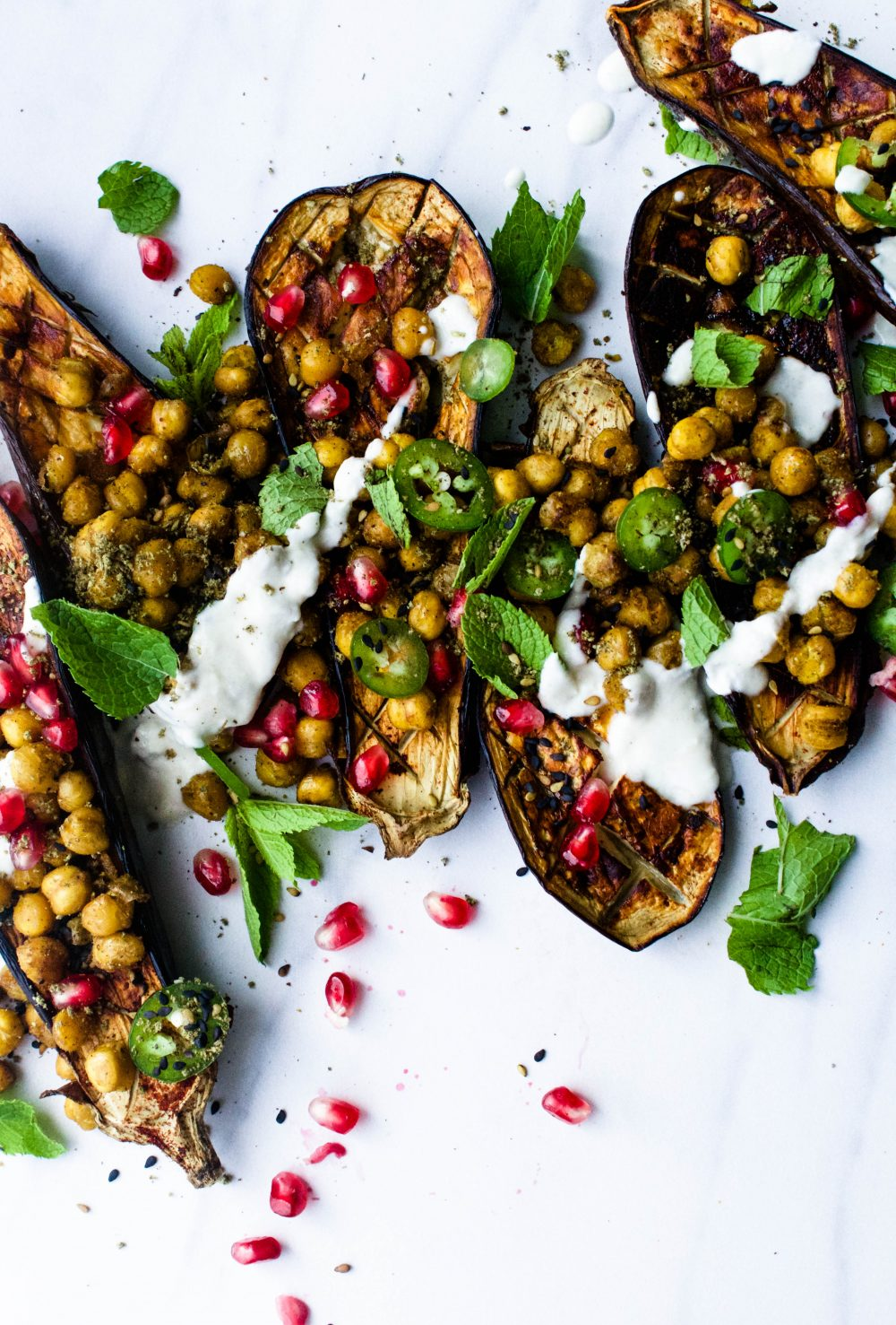 Charred Eggplant w/ Curried Chickpeas