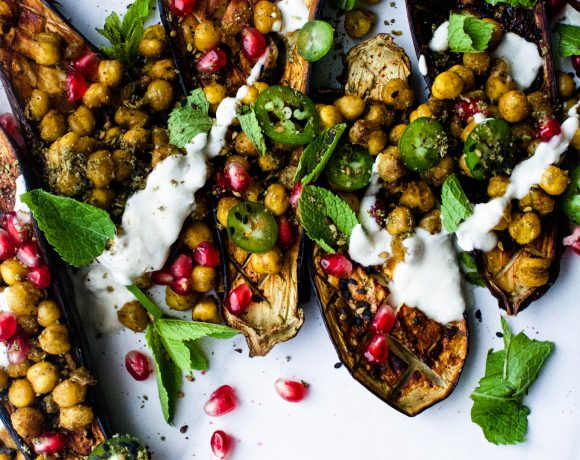 Blackened Eggplant w/ Curried Chickpeas and Stuff