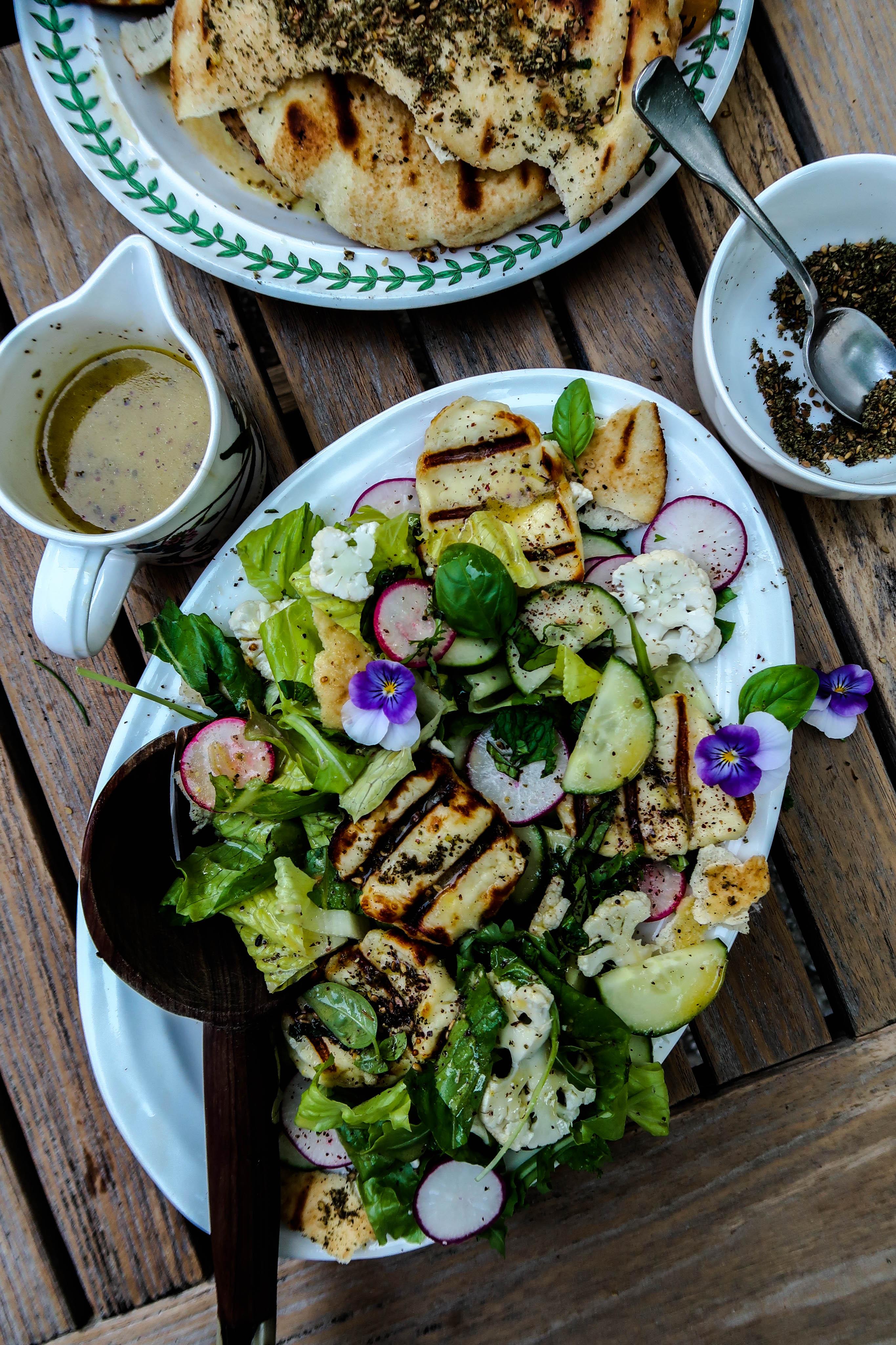 Grilled Halloumi Fattoush Salad