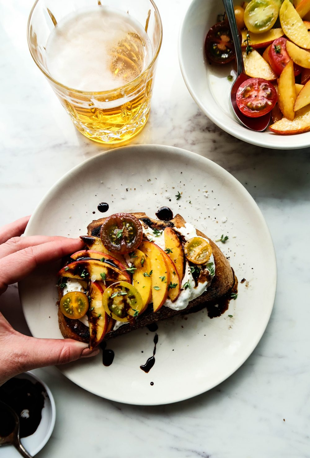 Whipped Ricotta Toast with Peach Bruschetta | Earth & Oven