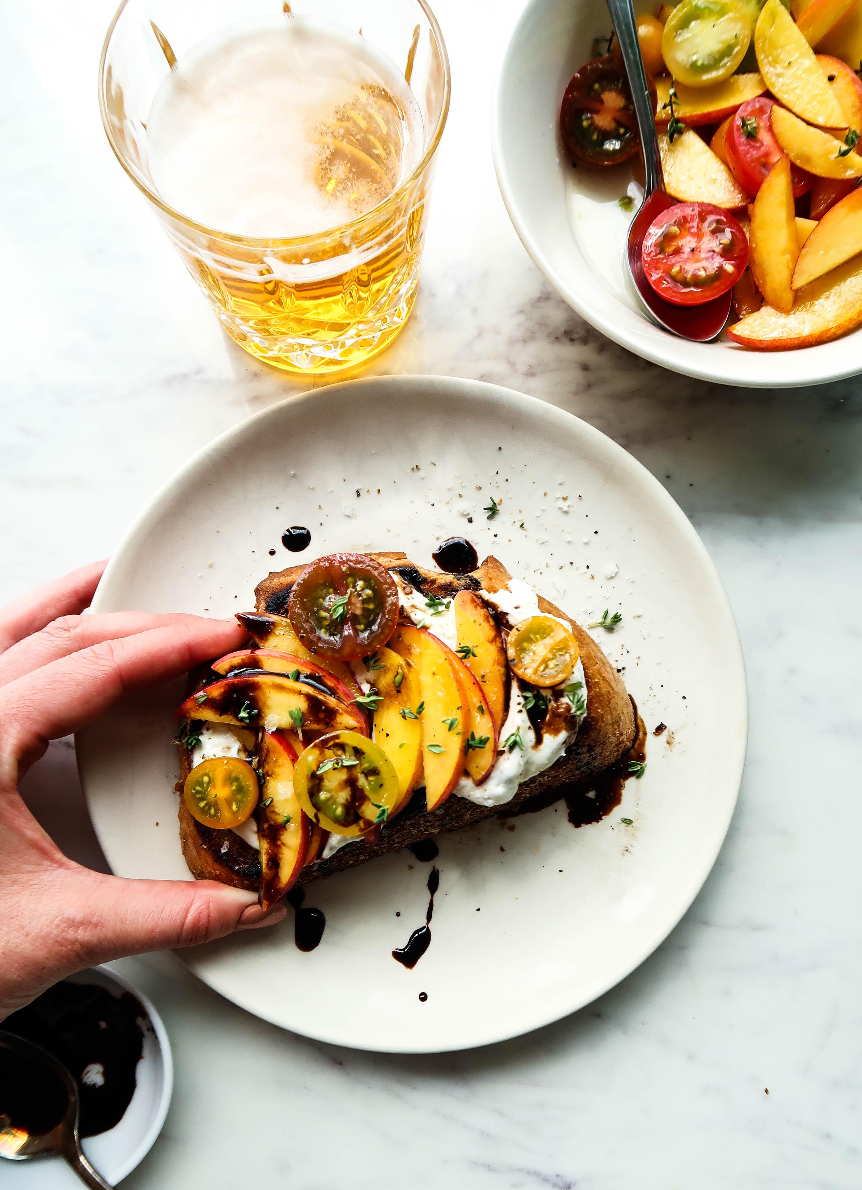 Whipped Ricotta Toast with Peach Bruschetta   Earth & Oven