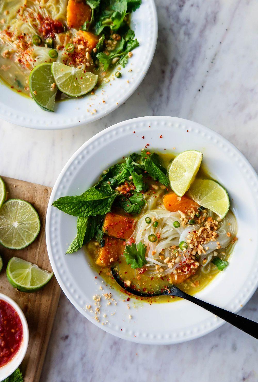 Thai Peanut Noodle Soup w/ Butternut Squash